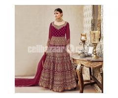 Un-stitched Maroon Velvet Long Anarkali Suit Nc-10121