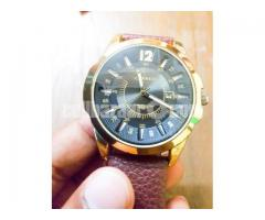 Leather  Golden Watch
