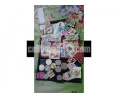 Rare stamp collection and coin