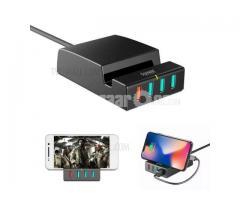 D-POWER IP988 QC3.0 4-port USB Charging Station Dock Stand Charger - US Plug / Black