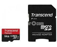 Transcend 64GB microSDXC/SDHC Class 10 UHS-I 400x (Premium) With Adapter # TS32GUSDU1