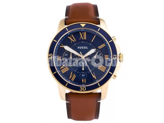 WW0185 Original Fossil Grant Chronograph Luggage Leather Belt Watch FS5268 - 1/5