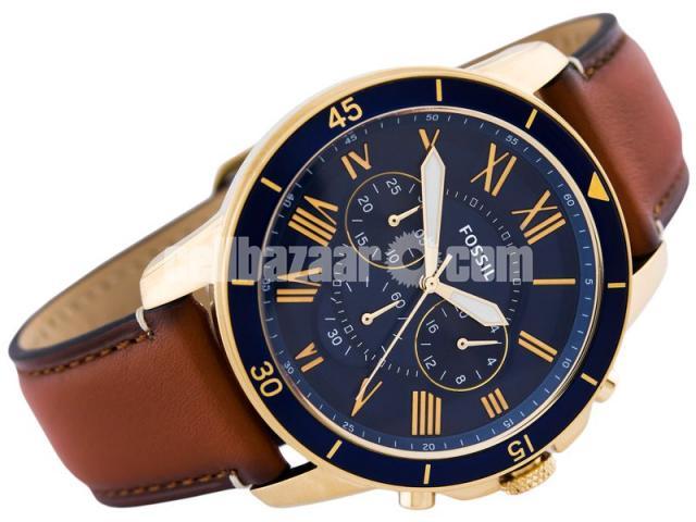 WW0185 Original Fossil Grant Chronograph Luggage Leather Belt Watch FS5268 - 4/5