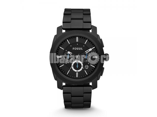 WW0186 Original Fossil Machine Chronograph Black Stainless Steel Chain Watch FS4552 - 1/5