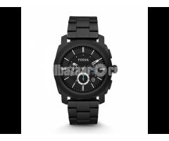 WW0186 Original Fossil Machine Chronograph Black Stainless Steel Chain Watch FS4552 - Image 1/5