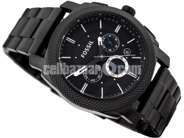 WW0186 Original Fossil Machine Chronograph Black Stainless Steel Chain Watch FS4552 - 2/5