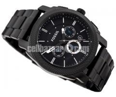 WW0186 Original Fossil Machine Chronograph Black Stainless Steel Chain Watch FS4552 - Image 2/5
