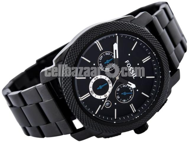 WW0186 Original Fossil Machine Chronograph Black Stainless Steel Chain Watch FS4552 - 3/5