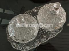 Crystal paired bowl set with tray