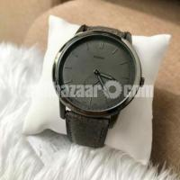 WW0214 Original Fossil Minimalist Two-Hand Gray Leather Belt Watch FS5445L