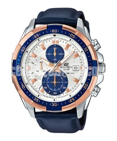 WW0221 Original Casio Edifice Chronograph Leather Belt Watch EFR-539L-7CV - 1/5