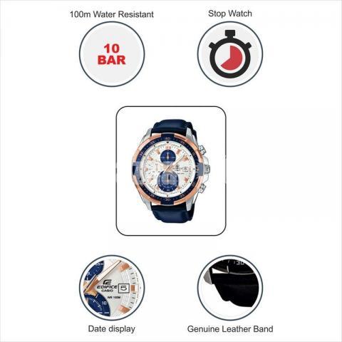 WW0221 Original Casio Edifice Chronograph Leather Belt Watch EFR-539L-7CV - 5/5