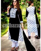 Cotton Block 3pc – Black And White Color with White Color Block print – DNO196