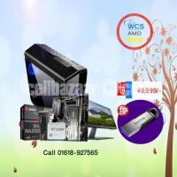 "DESKTOP RYZEN 5 AMD 2400G 970 Samsung EVO 250GB 16GB RAM 21.5"" Dell Monitor"