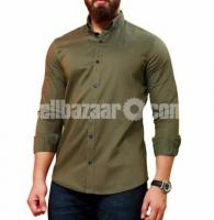 Olive Panama Long Sleeve Casual Shirt for Men – 1