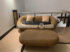 Malaysian Cane Sofa with table