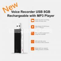 Voice Recorder USB 8GB Rechargeable with Built-in MP3 Player