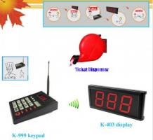 Queue calling system simple ticket dispenser with numerical keypad and monitor wireless paging